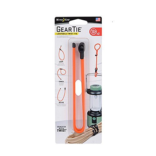 Nite Ize Gear Tie Loopable, The Original Reusable Rubber Twist Tie With Sturdy Integrated Loop, 12-Inch, Bright Orange, 2 Pack, Made in the USA