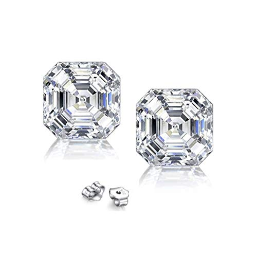 (Sterling Silver 8MM Special-Asscher-Cut Cubic Zirconia Stud Earrings)