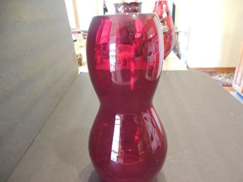 (Ruby Red Hand Blown Glass Vase with Sleek Design- Mint 9
