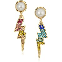 Betsey Johnson Womens Pave and Pearl Lighting Bolt Earrings