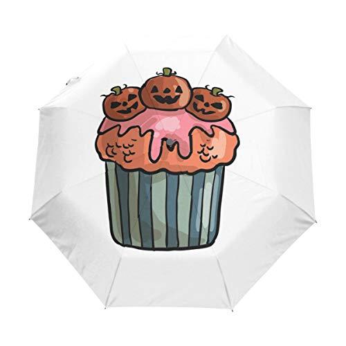 MONTOJ Spooky Halloween Cupcake Three fold Sun&Rain Travel?Umbrella