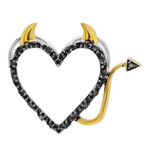 Dazzlingrock Collection 0.07 Carat (ctw) Round Black Diamond Two Tone Heart Ladies Devil Pendant, Sterling Silver