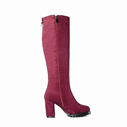 Carolbar Moda Mujer Rhinestones Vestido De Tacón Alto Con Cremallera Tall Botas Wine Red