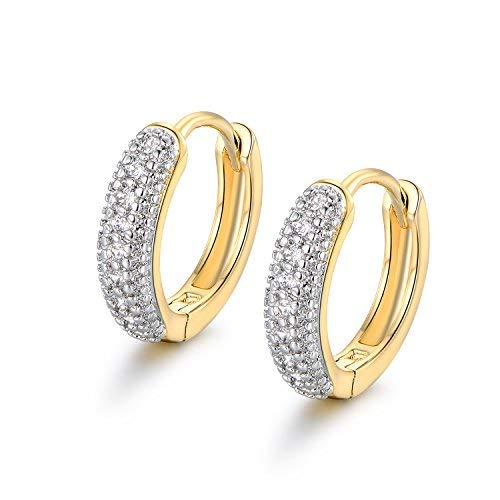 MASOP 15MM Huggies Hinged Sleeper Hoop Earrings Pave Zircon Stone Gold Silver Two-tone