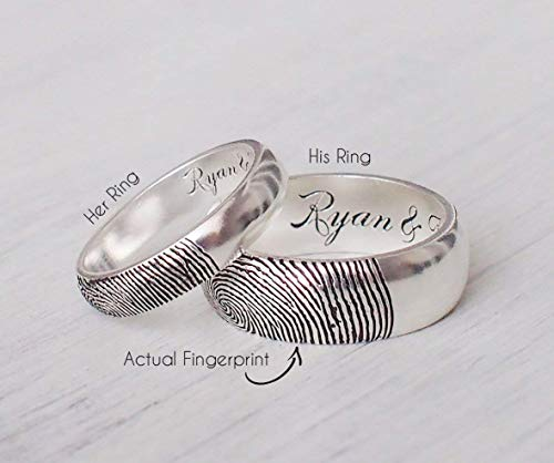 CODE BLUE JEWELRY - Personalized Promise Ring | Actual Fingerprint Ring | Custom Wedding Ring