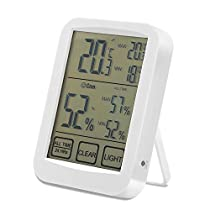 ASITA Digital Hygrometer Room Thermometer Gauge Smart Indoor Temperature Humidity Monitor with Touchscreen and Backlight