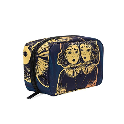 MAPOLO Gothic Witchcraft Siamese Twins Handy Cosmetic Pouch Clutch Makeup Bag Organizer Travel -