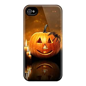 Special Amanlly Skin Case Cover For Iphone 4/4s, Popular Halloween Pumpkin Candles Phone Case