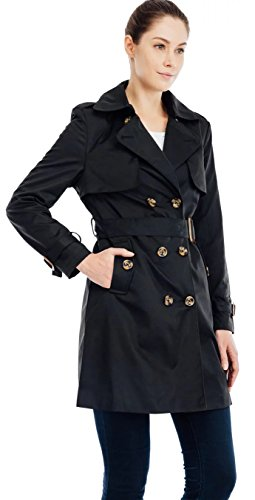 Valuker Women's Double Breasted Long Trench Coat with Belt Black 2016 M