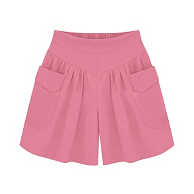 Sumeimiya Women's Plus Size Short Pants, Ladies' Solid Elastic Waist Hot Pants Summer Loose Casual Shorts with Pocket at Women鈥檚 Clothing store