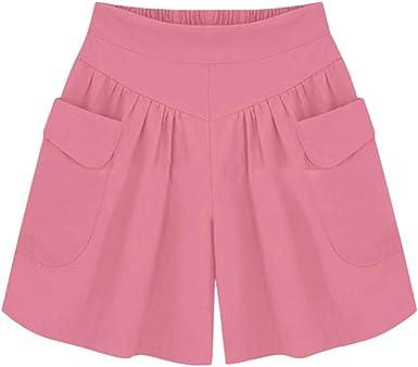 HucodeVan Pantalones Cortos Mujer,Casual Pantalones de Pierna ...