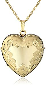 """14k Yellow Gold-Filled Engraved Four-Picture Heart Locket, 20"""""""