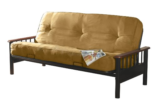 Primo International Blake Complete Futon with Wooden Arms and 8-inch Pocket Coil Mattress, Camel