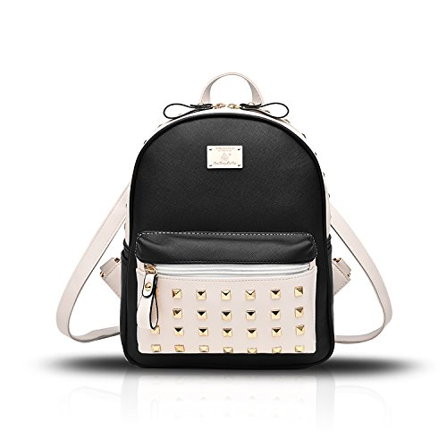 Sunas Bolso de hombro de estudiante bolsos de cuero PU señoras bolsa remaches de viaje mochila Costura negra