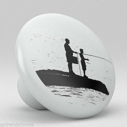 Fishing Design Black White Ceramic Knobs Pulls Kitchen Drawer Cabinet Vanity 813