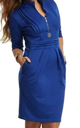 Neck Size Mini Pockets Casual Dress Zipper s Pleated Domple Plus Blue V Women vq6XtHS