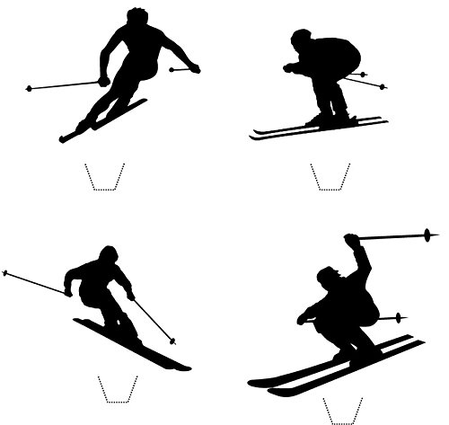Skier Silhouette (Novelty Skier Silhouette Mix 12 Edible Stand up wafer paper cake toppers - UNCUT (5 - 10 BUSINESS DAYS DELIVERY FROM UK))