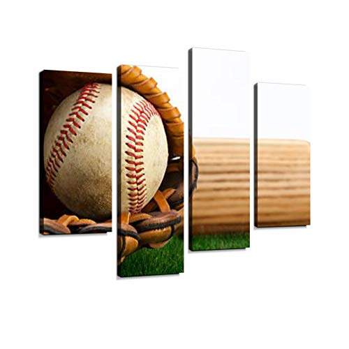 Baseball, Glove and bat on Grass Canvas Wall Art Hanging Paintings Modern Artwork Abstract Picture Prints Home Decoration Gift Unique Designed Framed 4 ()