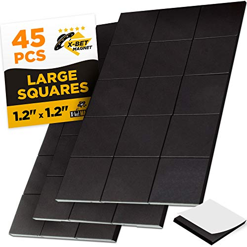 (Large Magnetic Squares - 45 Self Adhesive Magnetic Squares (Each 1.2