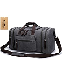 BAOSHA HB-21 Oversized Canvas Holdall Overnight Weekend Bag Travel Duffle Bag Weekender Bags Sports Shoulder Handbag Carry-on Bag (Grey)