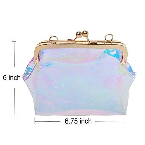 Clutch Bag PVC Lock Chain Cross Transparent Opromo Kiss Purse Laser Womens Body Clear TqxwZ0n