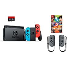Nintendo Switch 4 items Bundle:Nintendo Switch 32GB Console Neon Red and Blue Joy-con,64GB Micro SD Memory Card and an Extra Pair of Nintendo Joy-Con (L/R) Wireless Controllers Gray,1-2-Switch