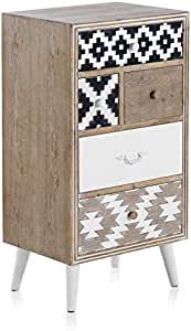 GEESE - Cajonera con Cinco cajones frontis con Forma geométrica en Blanco y Negro - Medidas Ancho 48 cm, Largo 35 cm y Alto 90 cm: Amazon.es: Hogar