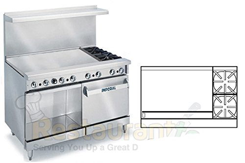Imperial Commercial Restaurant Range 48'' With 2 Burner 36'' Griddle Oven/Cabinet Propane Ir-2-G36-Xb by Imperial