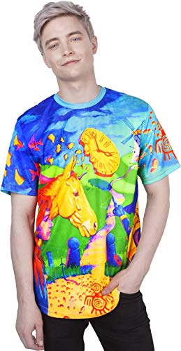Face Lion Tee - Egypt Lion Psychedelia Electric Galaxy Futuristic Art Creative Fun T-Shirt