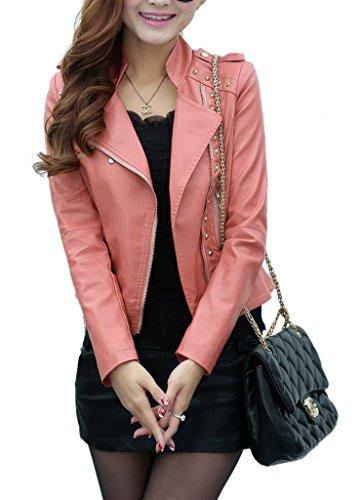 Rose Moto Cuir Manteau Blouson Slim Yiyilai Femme Jacket Faux Zip xwnqWAav47
