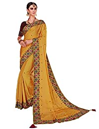 Glory Sarees Designer Embroidery work Handmade Party Wear Tussar Silk Saree for Women