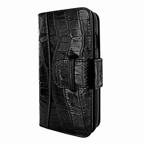 (Piel Frama iPhone Xs Max WalletMagnum Leather Case - Black Cowskin-Crocodile)