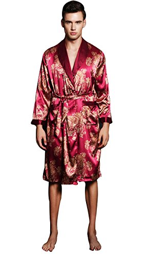 Charmeuse Print Belt (SexyTown Long Satin Lounge Print Bathrobe Men's Charmeuse Sleepwear with Pockets Large A-Wine Red)
