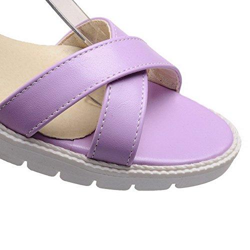 AllhqFashion Women's Soft Leather Buckle Open Toe Low-heels Solid Wedges-Sandals Purple jcrjyL9inC