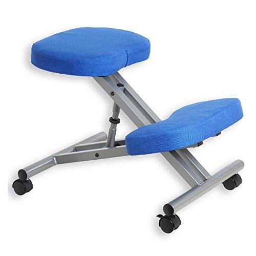 Kniestuhl Kniehocker Sitzhocker Bürohocker Gesundheitsstuhl ROBERT in blau/alufarben, höhenverstellbar, bequem gepolstert, rollbar