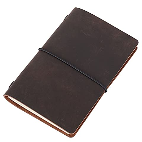 Field Notes Cover - Dotted Leather Journal 3.5 x 5.5 Travelers Notebook (64 Pages | Pocket Size | Refillable | Dark - Slim Pocket Diary