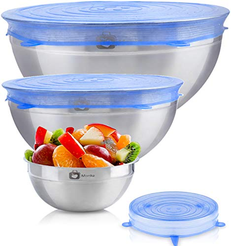 Stainless Steel Mixing Bowls With Sretch Silicon Lids (Set of 3). 100% Airtight Lids, For Healthy Meal, Nesting and Stackable .Monka