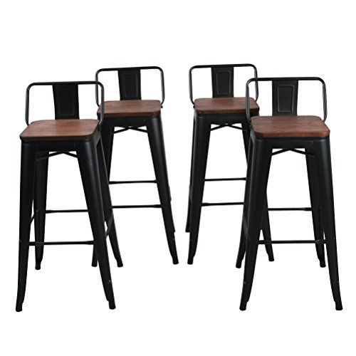 Low Back Metal Bar Stool for Indoor-Outdoor Kitchen Counter Bar Stools Set of 4 (30 inch, Low Back Black with Wooden Top) (Furniture Bar Indoor Set)