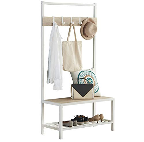 Homissue Modern Style 2 Shelf Hall Tree with Storage Bench, Light Oak Bench and Lower Shelf with White Steel Frame, Entryway Shoe Rack with 5 Hooks for Garments - Modern Style with Simple Design: Made of white steel frame and MDF, wood grain (Not solid wood), add this elegant hall tree to the entryway or hallway to complement a fashionable aesthetic. Versatile Hall Tree with Bench: It not only works great as a shoe bench in the entry, but also can be an extra storage shelf to keep several pairs of shoes or baskets for daily items and accessories in your living room Reliable Construction:Its sturdy metal frame allows the whole clothes rack more durable and stable to hold up to 230 lbs; shoe bench has a weight capacity of 180 lbs - hall-trees, entryway-furniture-decor, entryway-laundry-room - 411QK08qeJL -