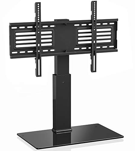 FITUEYES Universal TV Stand/Base Swivel Tabletop TV Stand with Mount for 42 to 70 inch Flat Screen TV 70 Degree Swivel, 9 Level Height Adjustable,Tempered Glass Base,Holds up to 110lbs Screens