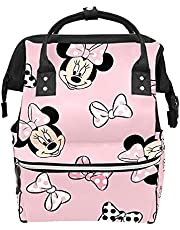 Backpack Diaper Bag Mickey Mouse Minnie Pink Background Waterproof Baby Bag Mom and Dad's Diaper Backpack Lightweight Large Capacity Diaper Bag Travel Daypack