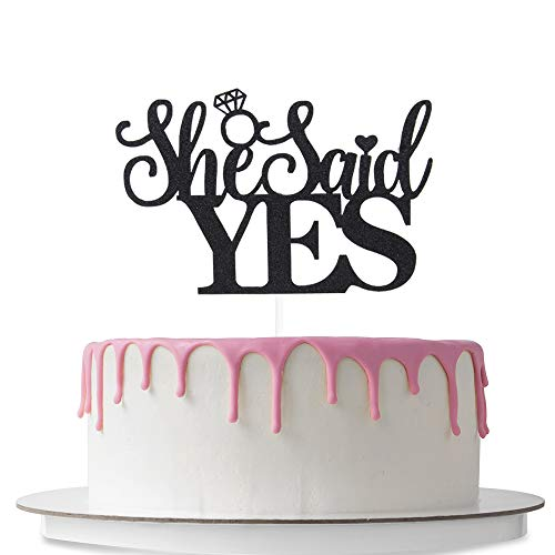 She Said Yes Cake Topper, Bridal Shower Cake Decorations, Wedding Engagement, Bachelorette & Bachelor Party Decor Supplies, Double Sided Black Glitter (Bachelor Cake Topper)