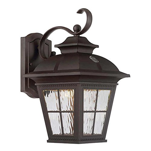 Altair Soft White LED Steel Construction in Patina Brush Finish Outdoor Coach Wall Porch Light For Sale