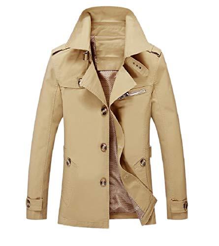 Men RkBaoye Turn yellowish Dust Collar Coat Button Oversized brown Down Casual Pocket gqFqdH