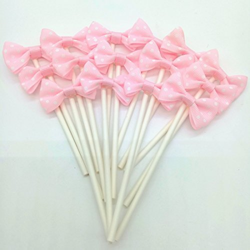 Paity Ribbon Bow Party Wedding Cupcake Toppers Birthday Cake Toppers Cake Decoration Bowknot Party Supplies Cupcake Toppers Wedding Cake Decoration/set of -