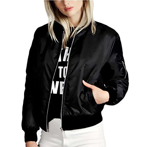 Closure Zipper Women - ZZhong Women's Zipper Closure Biker Coat Fashion Lightweight Bomber Jacket Black M