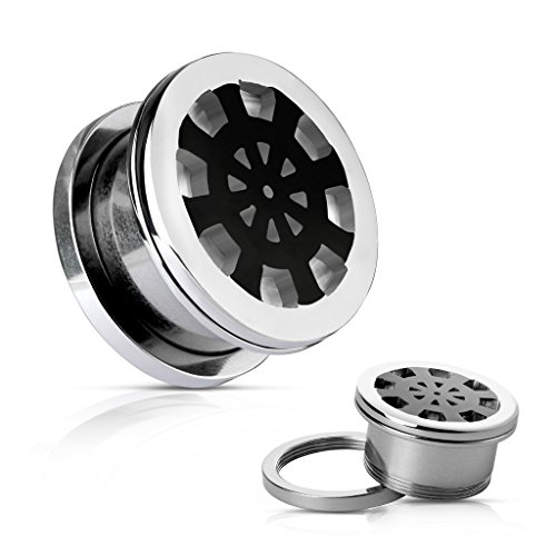 - Black Ship Wheel on Mirror Polished Surgical Steel Screw Fit Flesh WildKlass Tunnels (0GA)