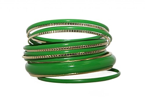 Lux Accessories Green Enamel Textured Multi Bangle Bracelet Set
