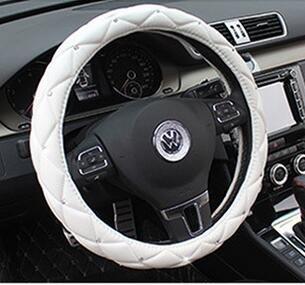 Follicomfy Comfort Leather Auto Car Steering Wheel Cover,Anti Slip Universal 15 Inch Diamond&Crown,White