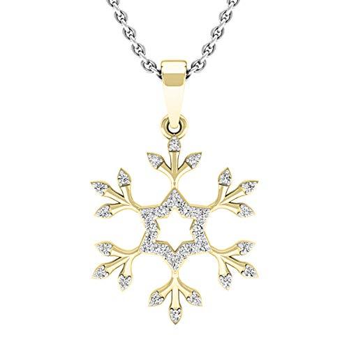 Dazzlingrock Collection 0.15 Carat (ctw) 18K Round White Diamond Snowflake Ladies Pendant (with Silver Chain), Yellow Gold